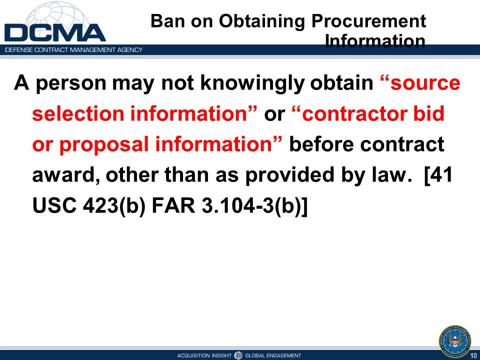 Ban on Obtaining Procurement Information