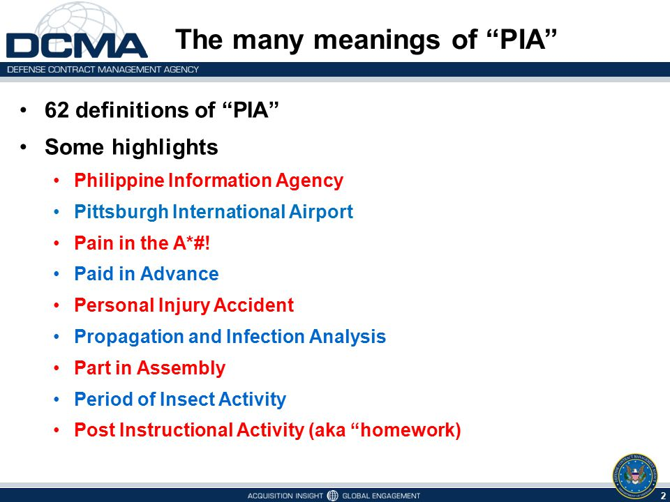 The many meanings of PIA
