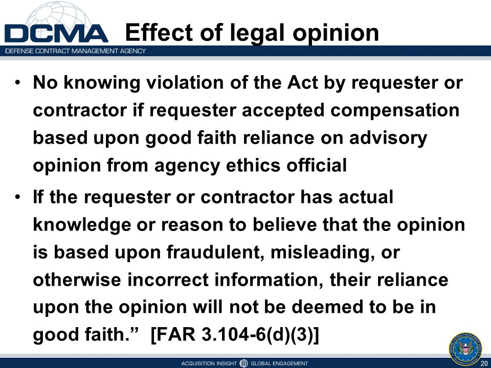 Effect of legal opinion