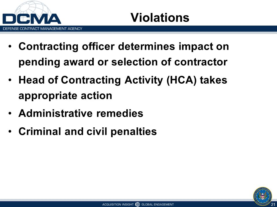 Violations Contracting officer determines impact on pending award or selection of contractor.