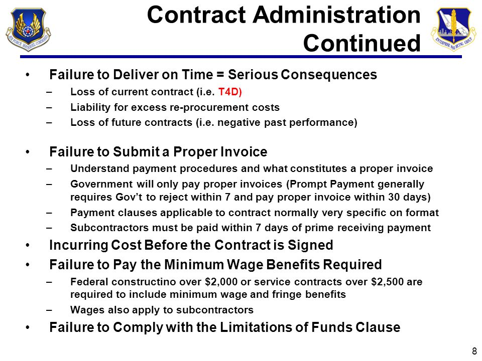 Contract Administration Continued