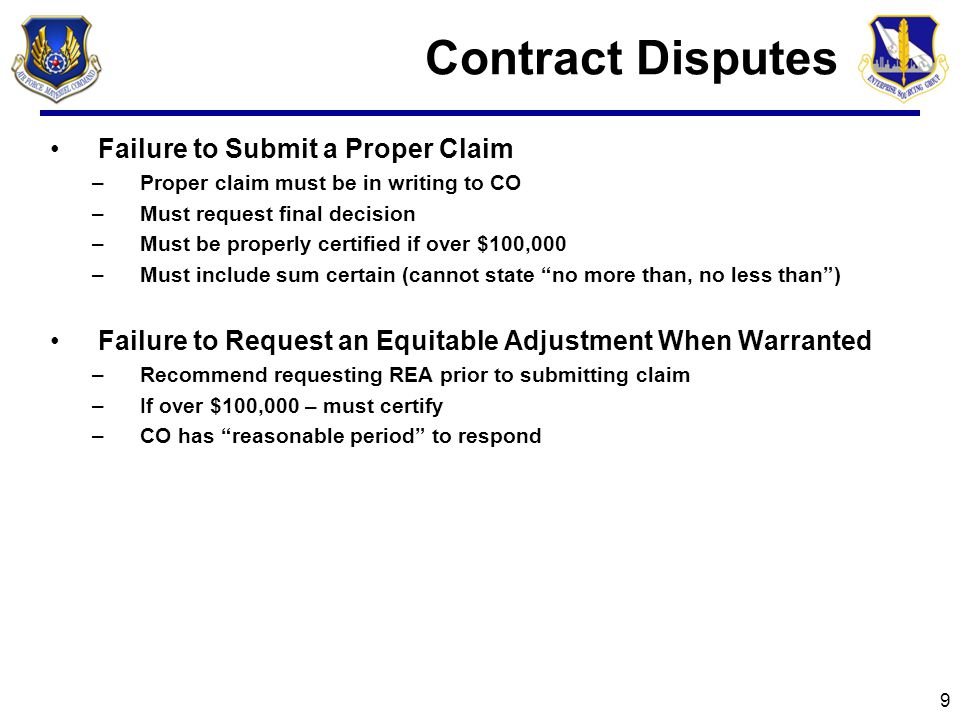Contract Disputes Failure to Submit a Proper Claim