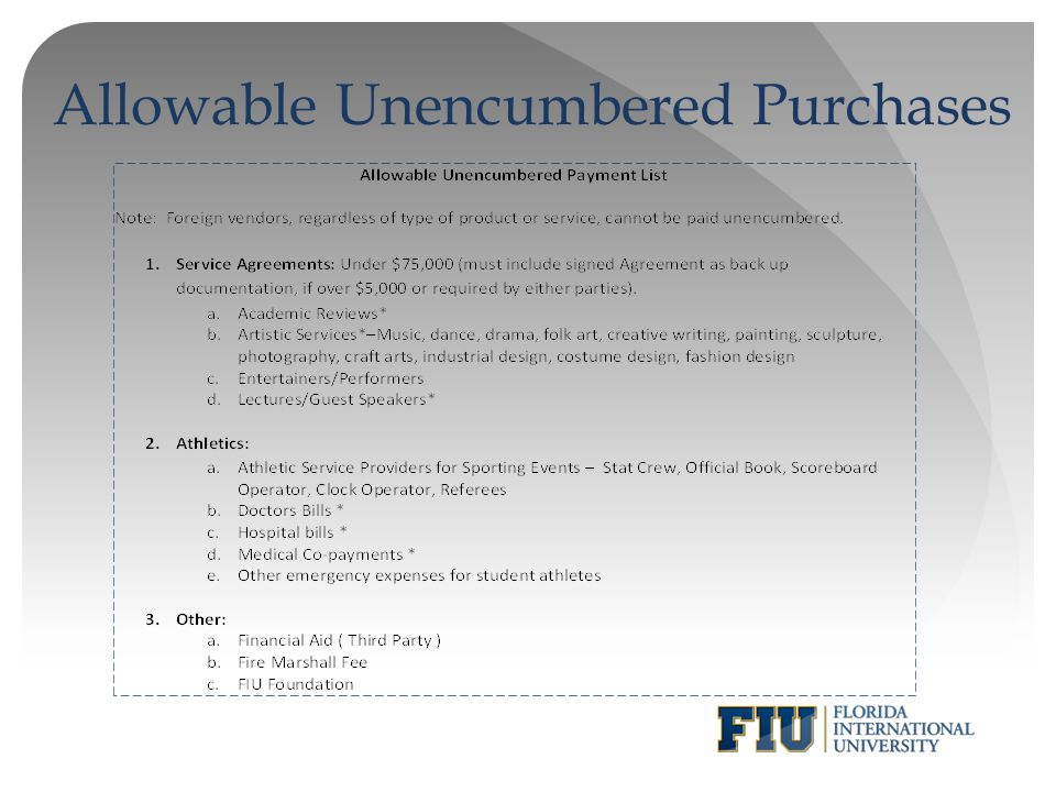 13 allowable unencumbered purchases