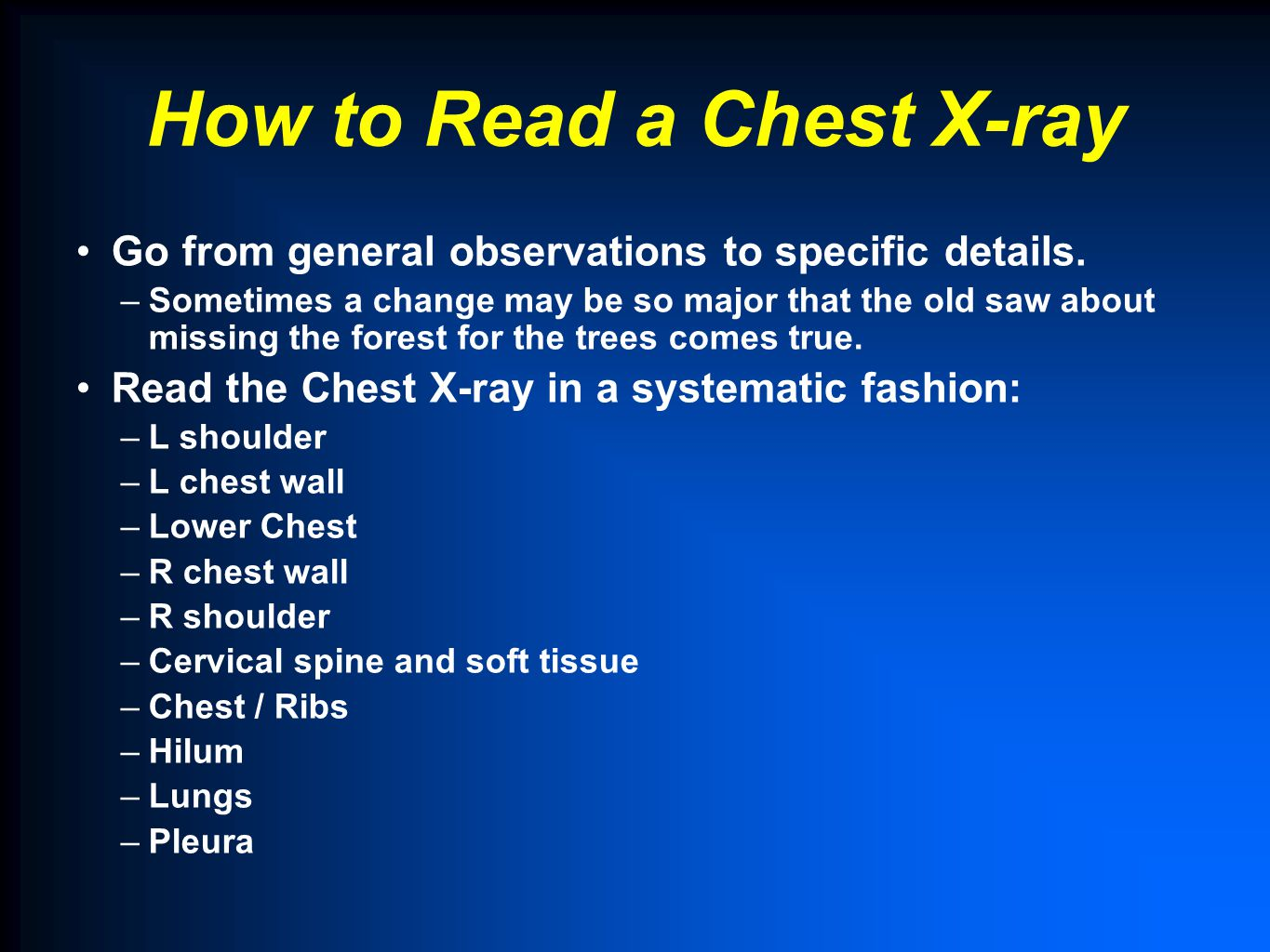 How to Read a Chest X-ray