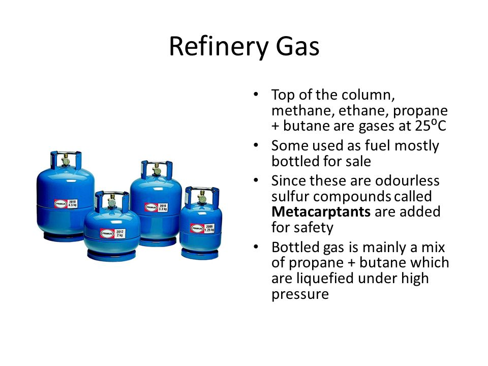 Refinery Gas Top of the column, methane, ethane, propane + butane are gases at 25⁰C. Some used as fuel mostly bottled for sale.