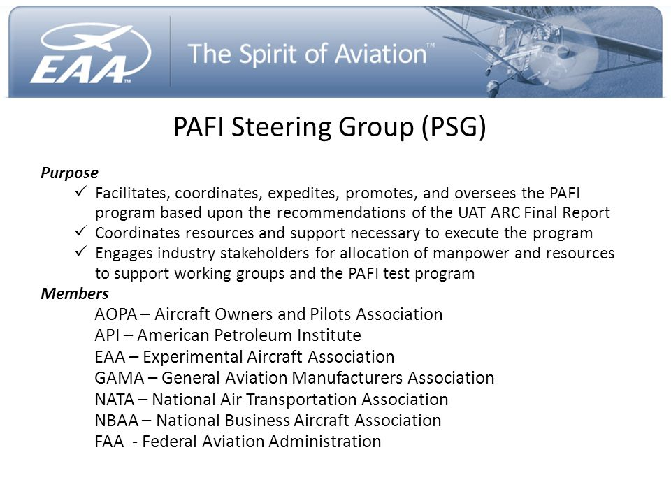 PAFI Steering Group (PSG)