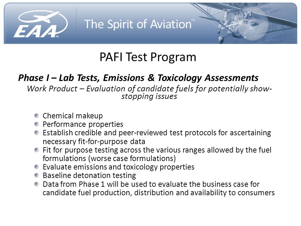 PAFI Test Program Phase I – Lab Tests, Emissions & Toxicology Assessments.