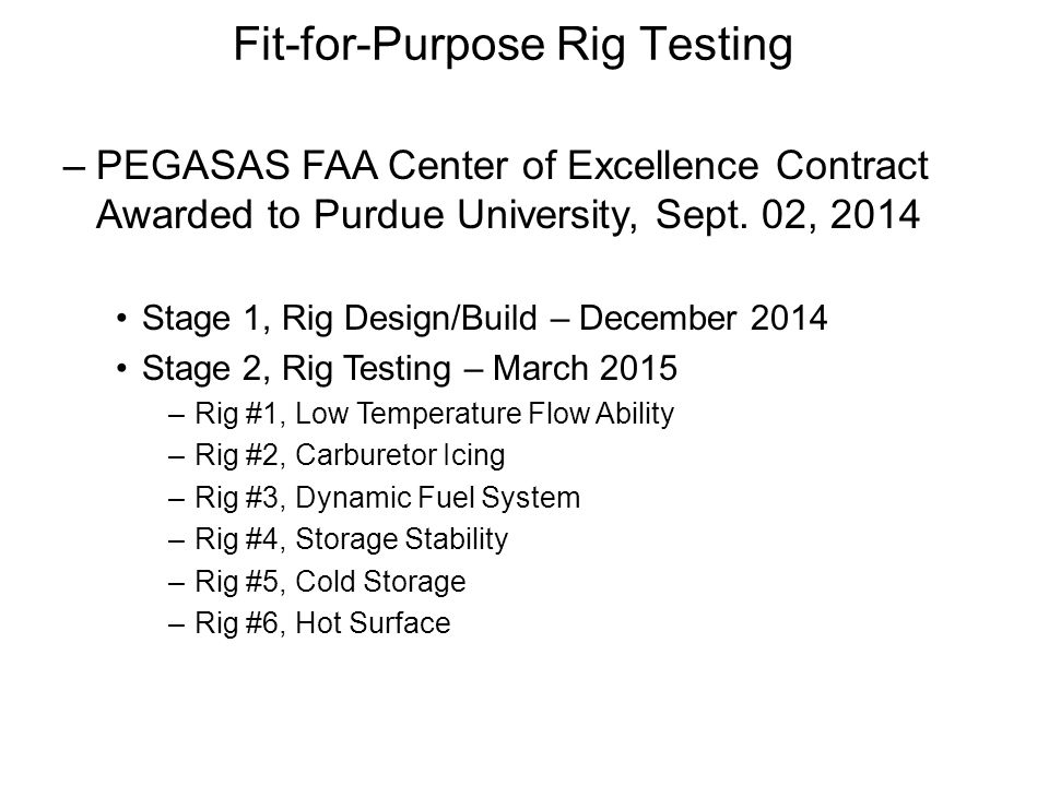 Fit-for-Purpose Rig Testing