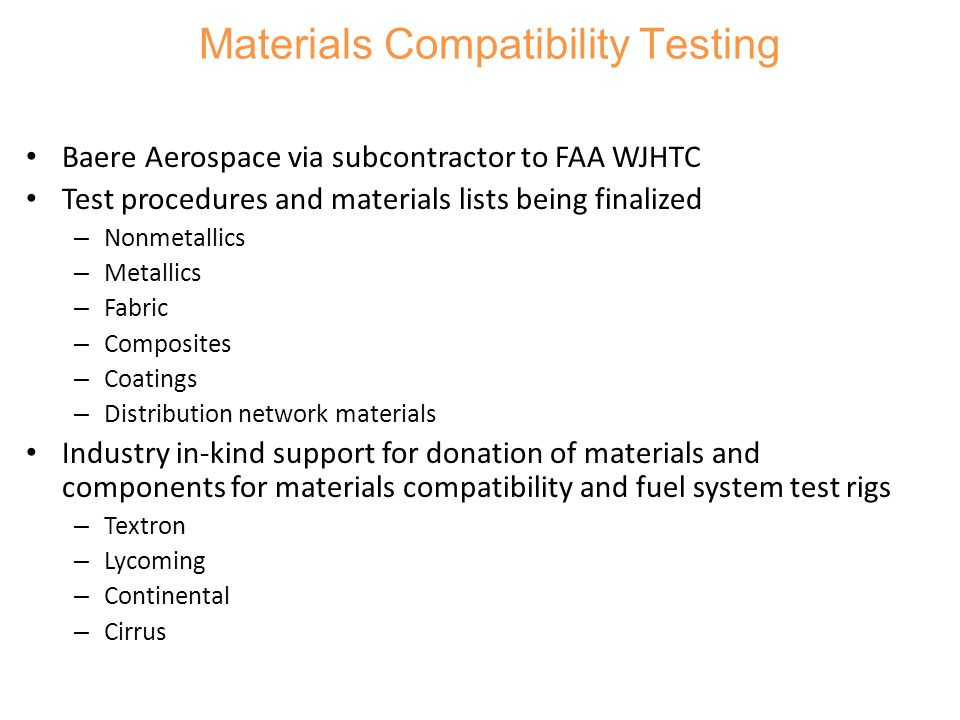 Materials Compatibility Testing