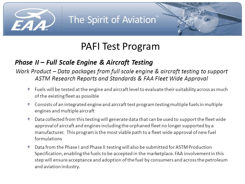 PAFI Test Program Phase II – Full Scale Engine & Aircraft Testing