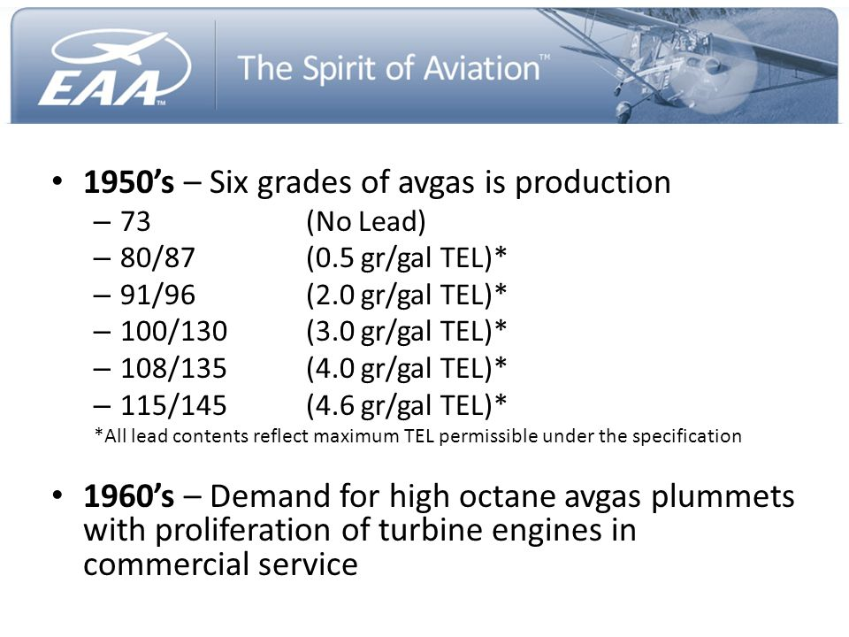 1950's – Six grades of avgas is production