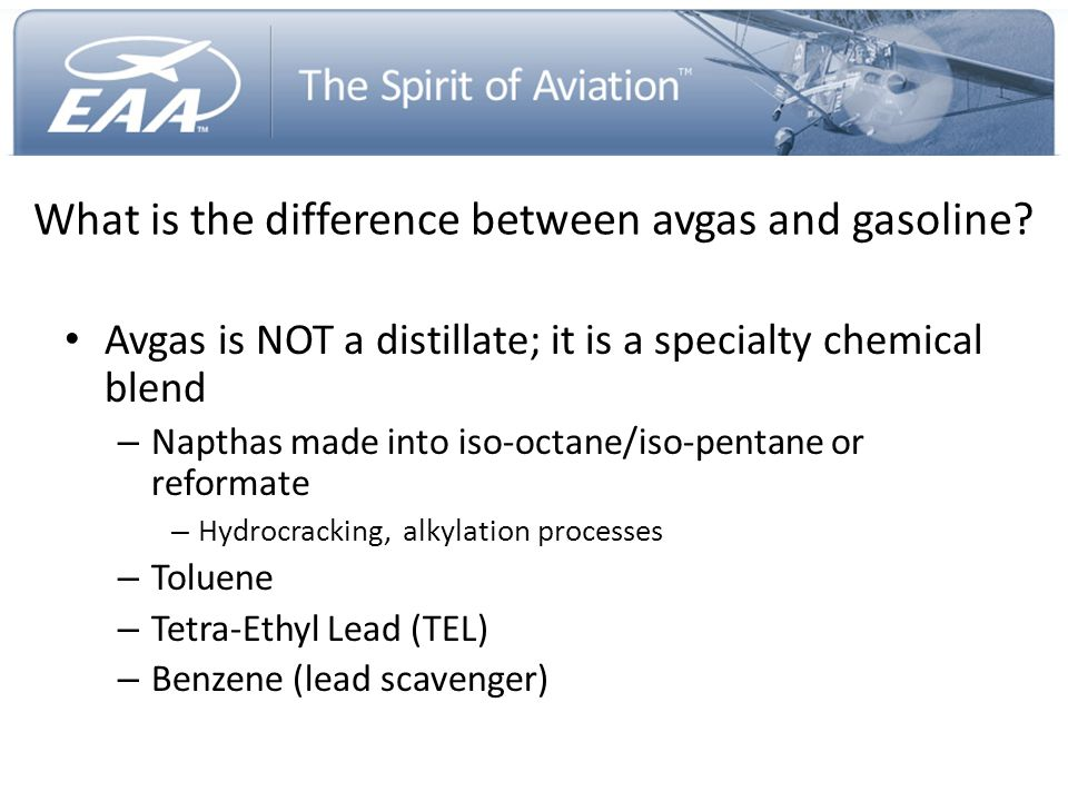 What is the difference between avgas and gasoline