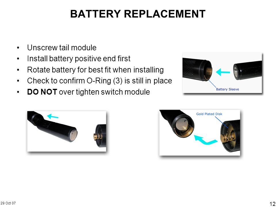 BATTERY REPLACEMENT Unscrew tail module
