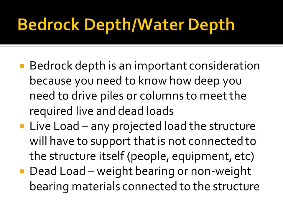Bedrock Depth/Water Depth