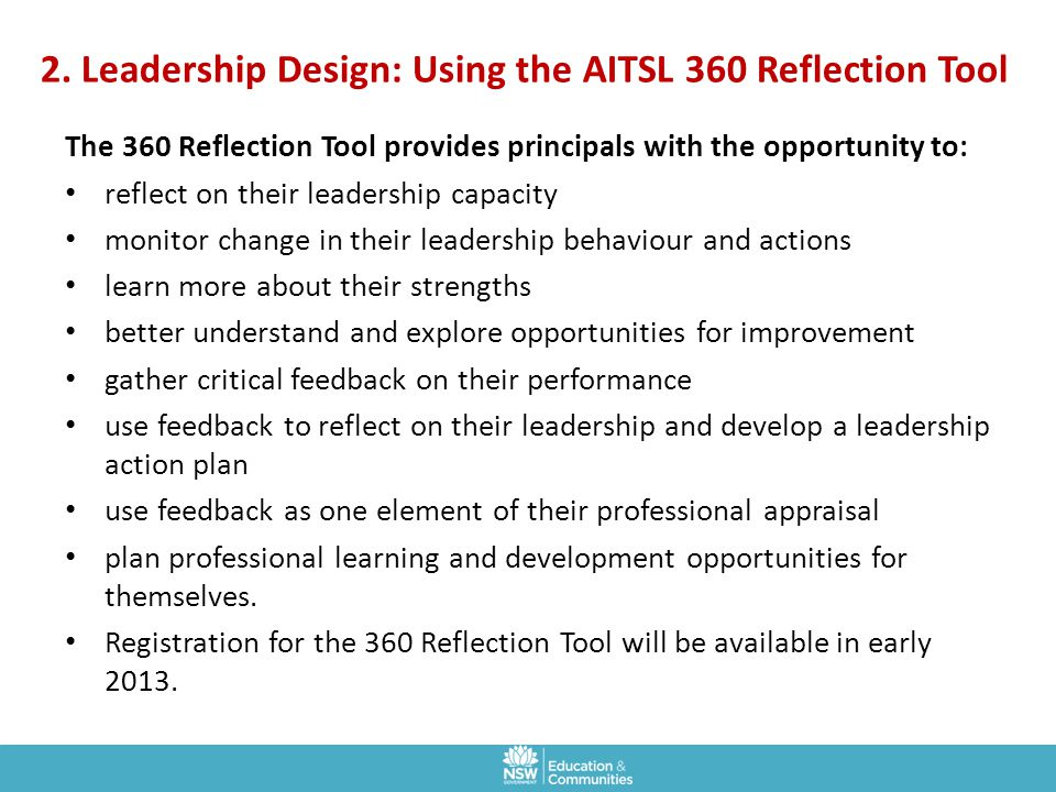 2. Leadership Design: Using the AITSL 360 Reflection Tool