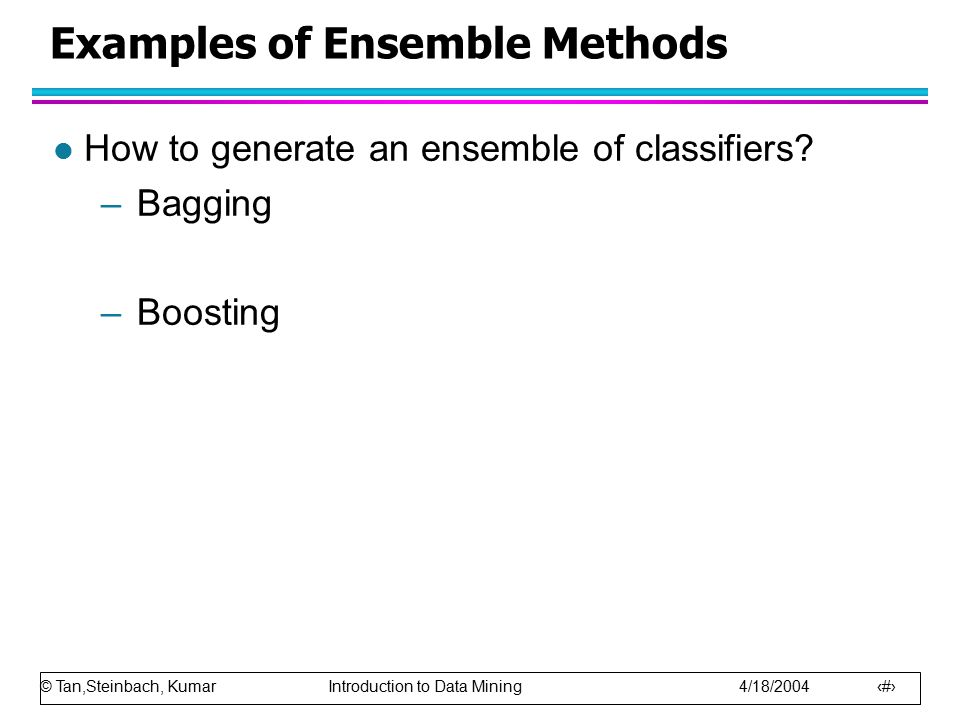 Examples of Ensemble Methods