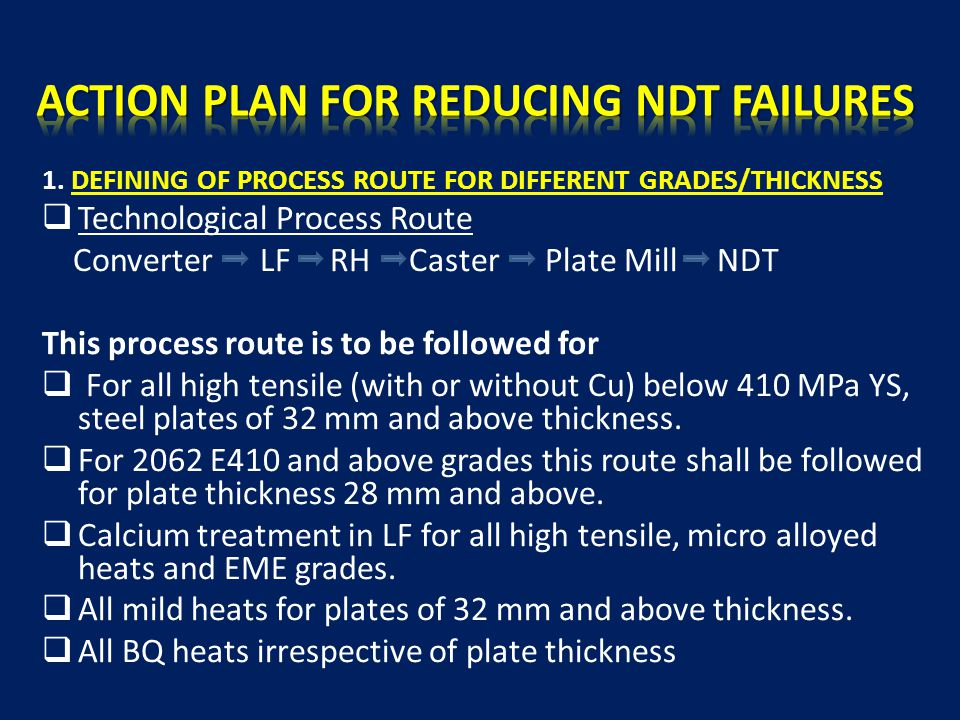 IMPROVING PLATE YIELD BY REDUCTION OF STEEL DEFECTS - ppt