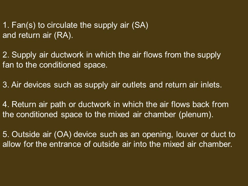 1. Fan(s) to circulate the supply air (SA)