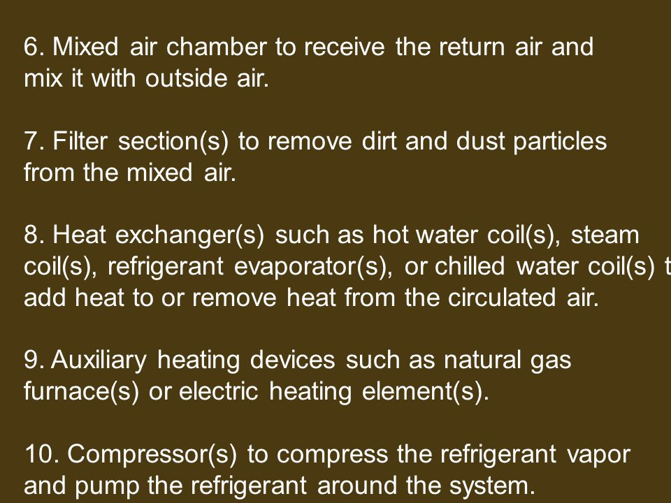 6. Mixed air chamber to receive the return air and