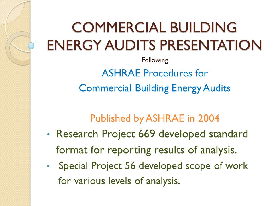 COMMERCIAL BUILDING ENERGY AUDITS PRESENTATION - ppt video