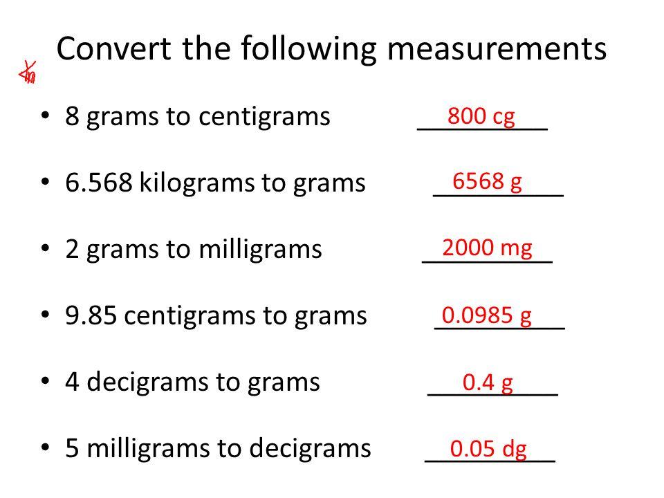 Convert The Following Measurements