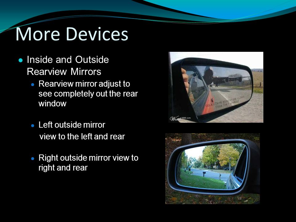 More Devices Inside and Outside Rearview Mirrors