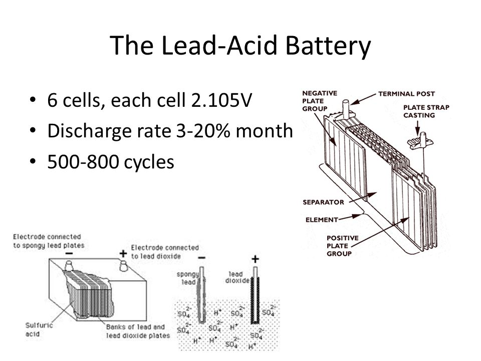 The Lead-Acid Battery 6 cells, each cell 2.105V