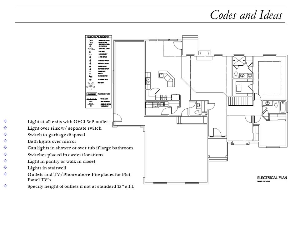 codes and ideas light at all exits with gfci wp outlet  34 steps in drawing electrical  plans