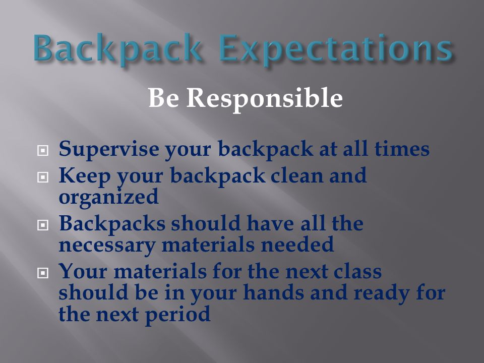 Backpack Expectations