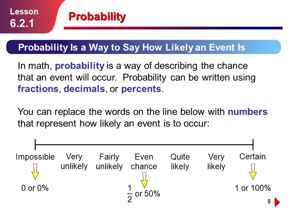 Probability Probability Is a Way to Say How Likely an Event Is