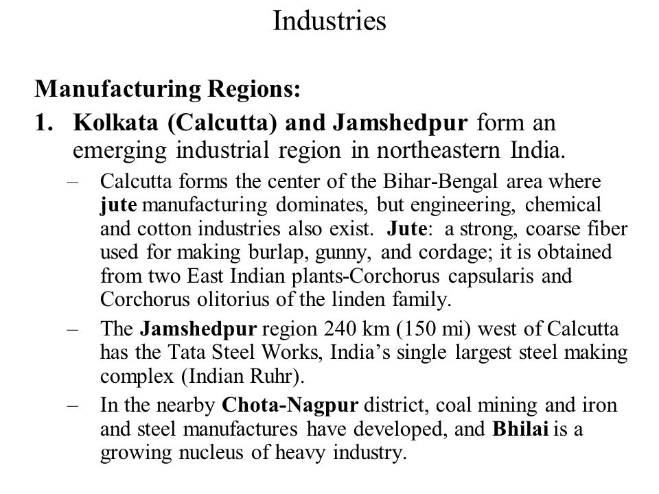 Industries Manufacturing Regions: