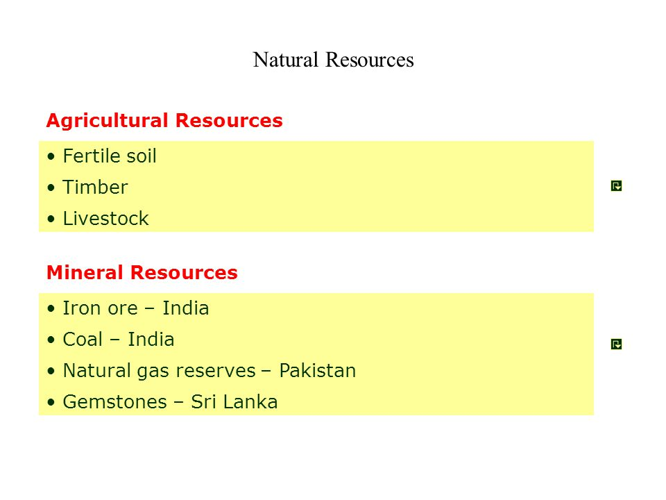 Natural Resources Agricultural Resources Fertile soil Timber Livestock