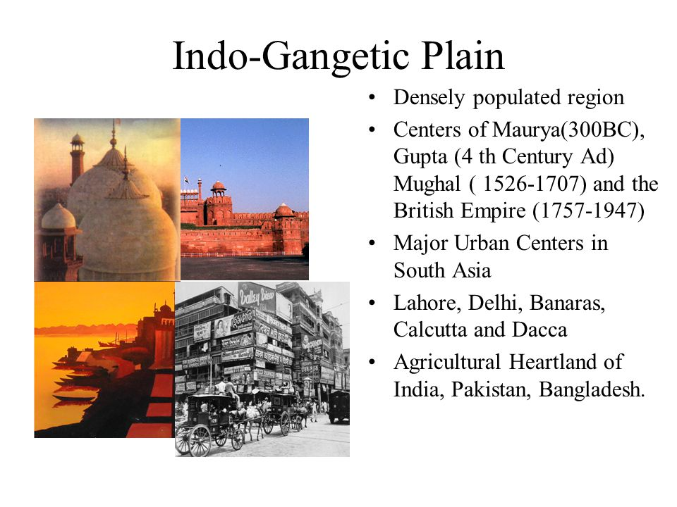 Indo-Gangetic Plain Densely populated region