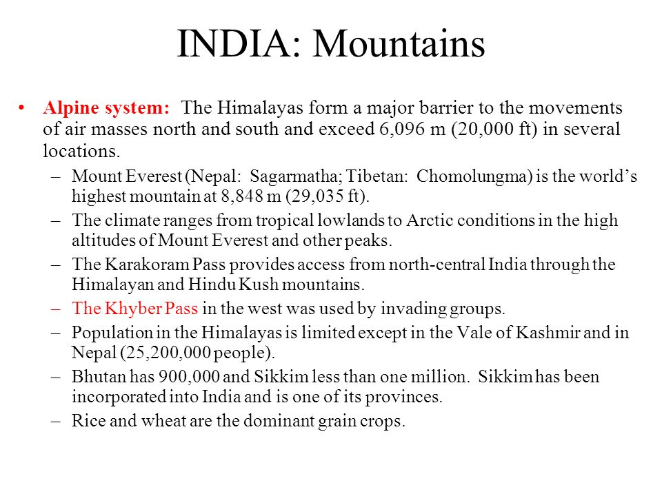 INDIA: Mountains