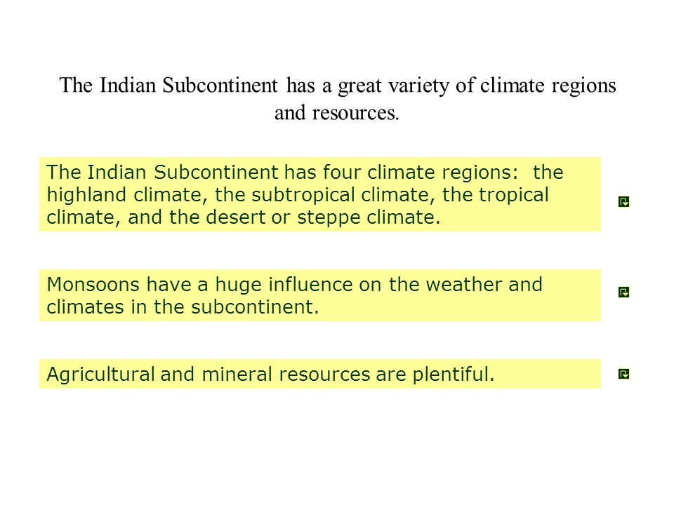 The Indian Subcontinent has a great variety of climate regions and resources.