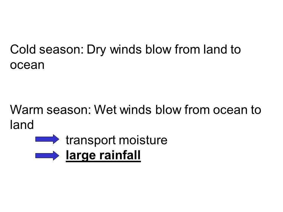 Cold season: Dry winds blow from land to ocean