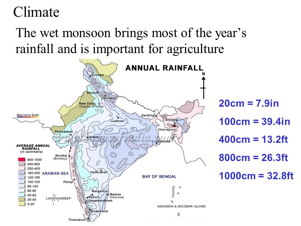 Climate The wet monsoon brings most of the year's rainfall and is important for agriculture. 20cm = 7.9in.