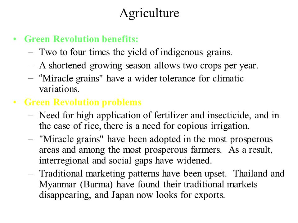 Agriculture Green Revolution benefits: