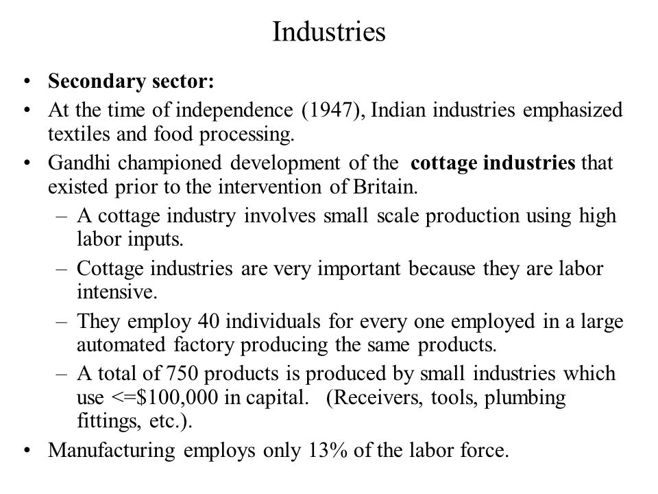 Industries Secondary sector: