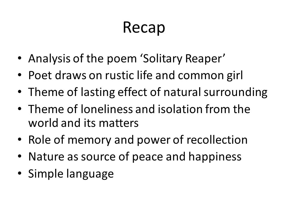 conclusion of the poem the solitary reaper