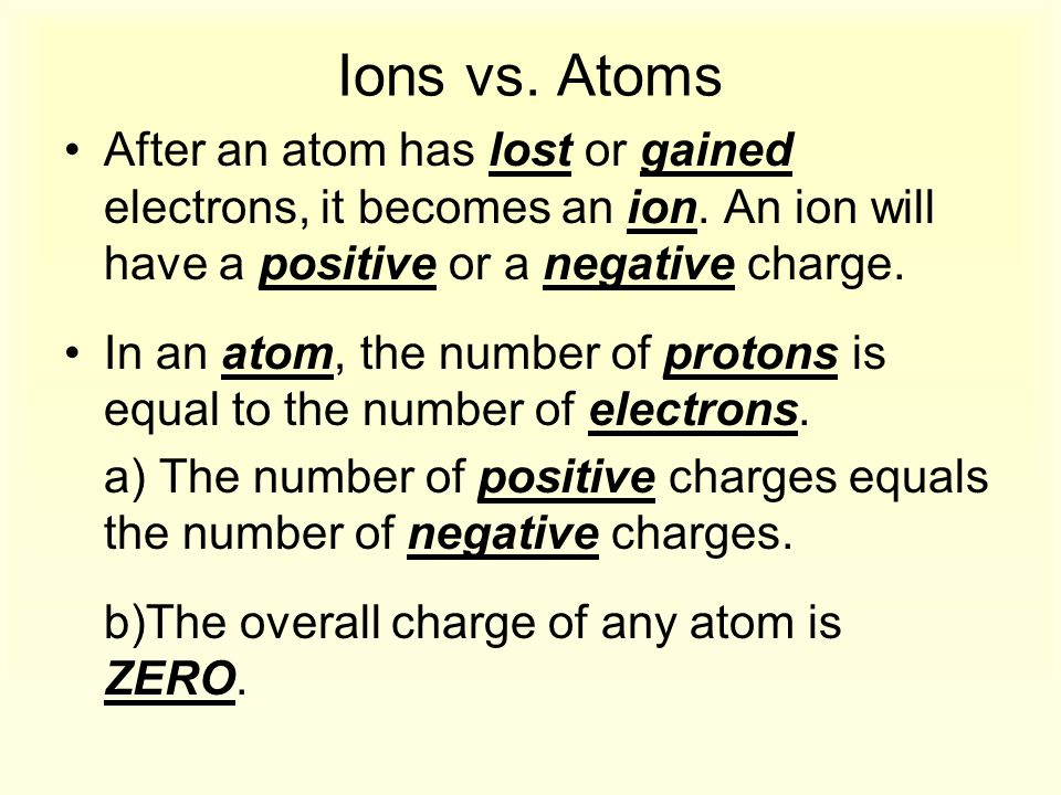 Ions vs. Atoms After an atom has lost or gained electrons, it becomes an ion. An ion will have a positive or a negative charge.