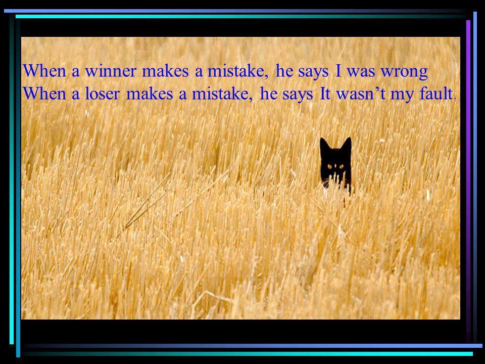 When a winner makes a mistake, he says I was wrong