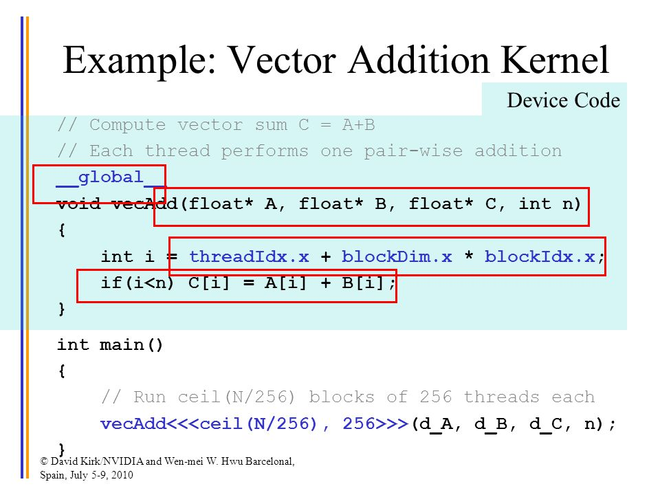 Example: Vector Addition Kernel