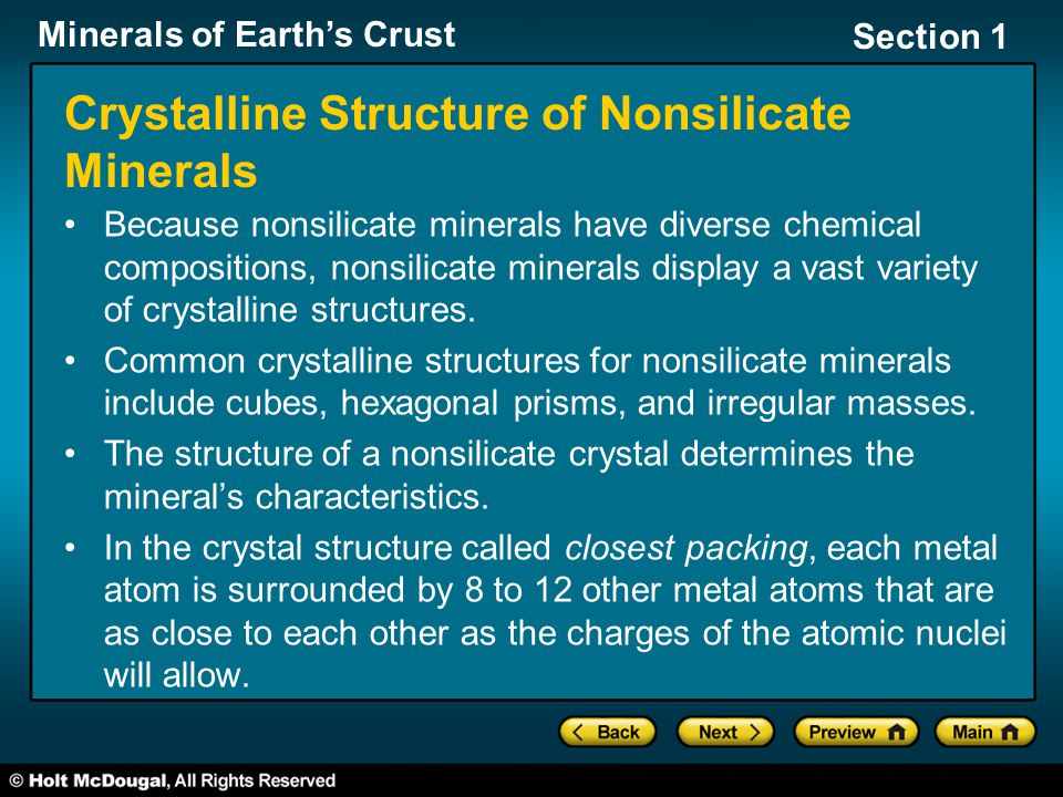Crystalline Structure of Nonsilicate Minerals
