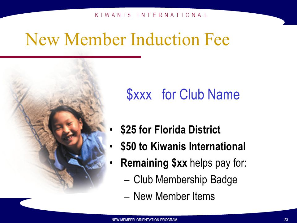 New Member Induction Fee