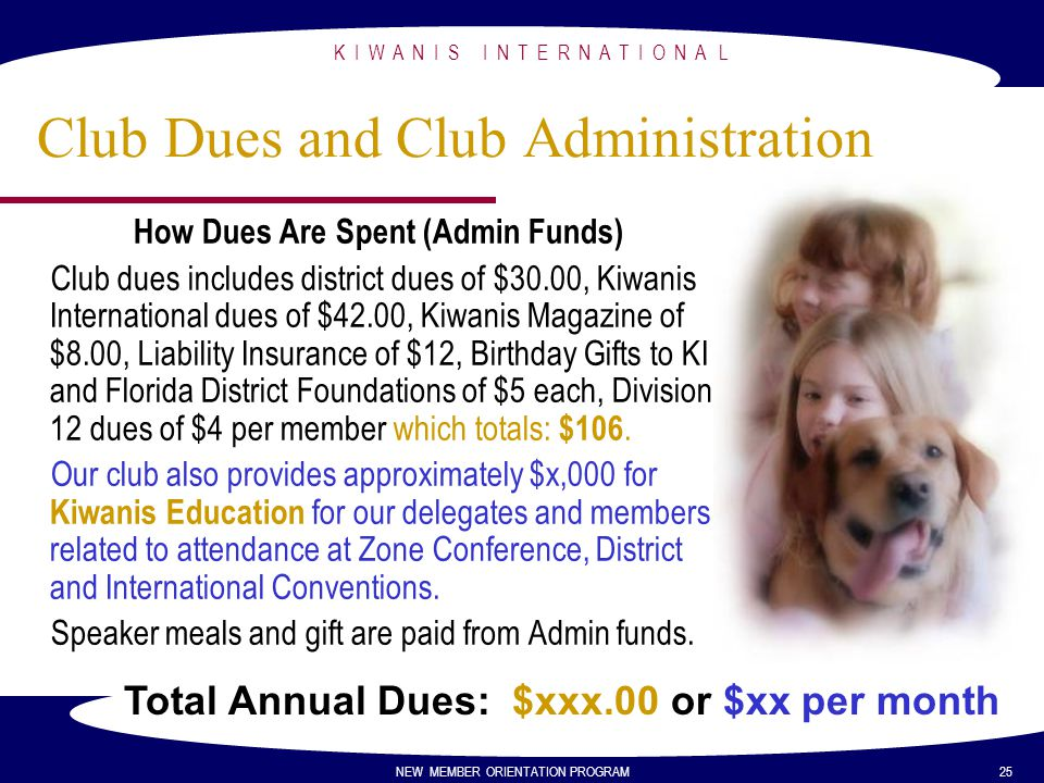 Club Dues and Club Administration