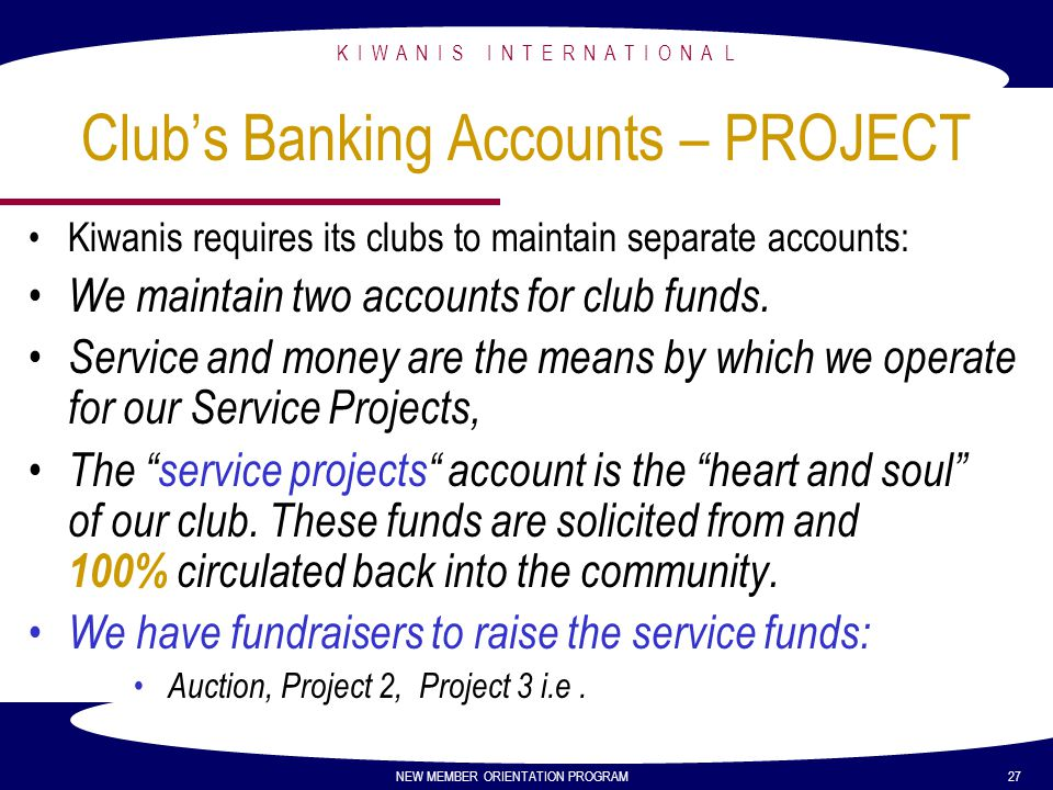 Club's Banking Accounts – PROJECT