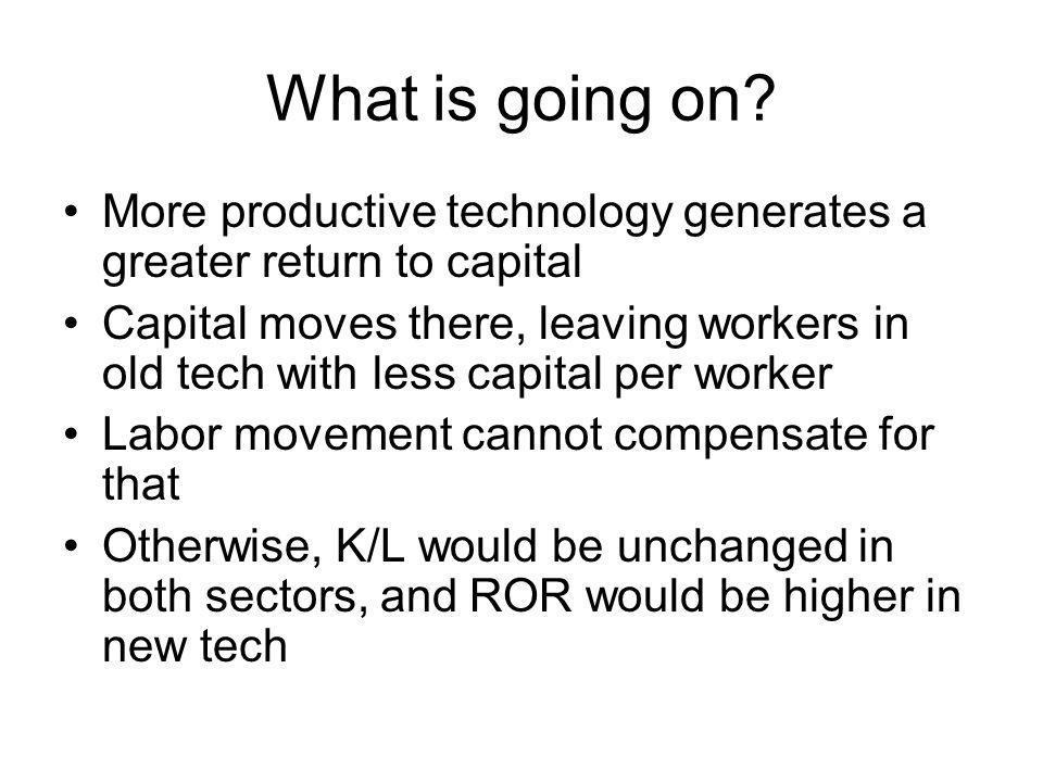 What is going on More productive technology generates a greater return to capital.