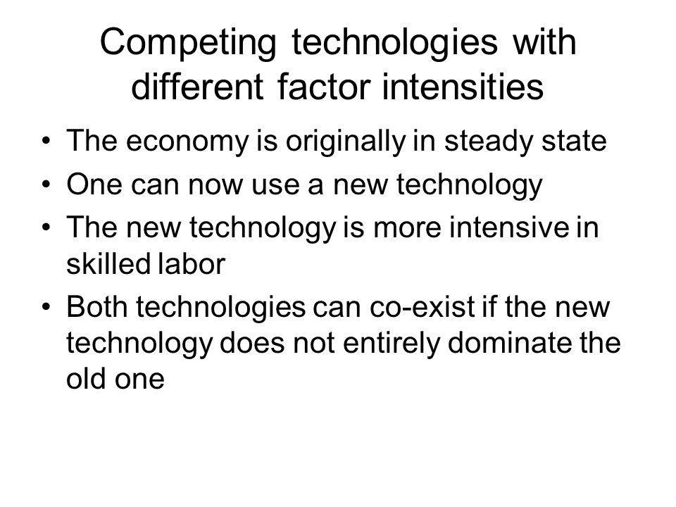 Competing technologies with different factor intensities