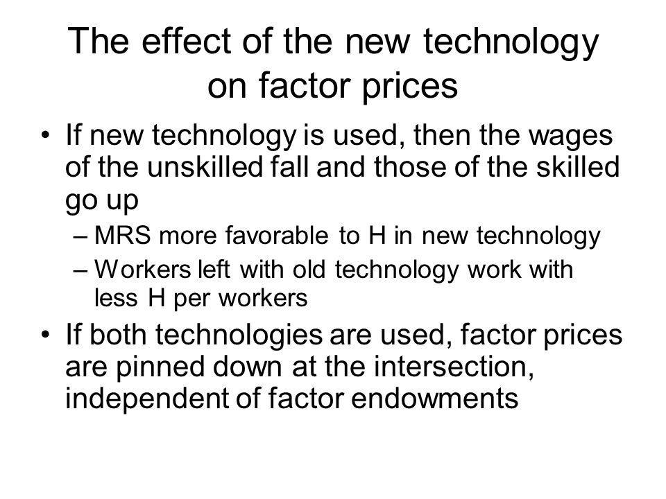 The effect of the new technology on factor prices